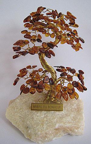 Arbre du bonheur A2 cognac 12 cm - bijou ambre et argent