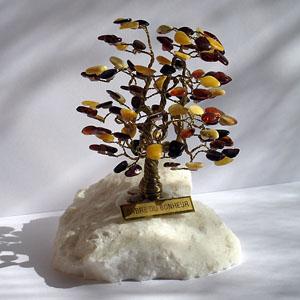 Arbre du bonheur A1 Multi 10 cm - bijou ambre et argent