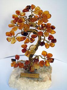 Arbre du bonheur 15 cm - bijou ambre et argent
