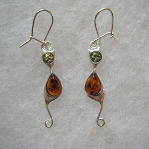 Boucle d'oreilles chat - bijou ambre et argent