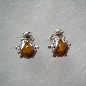 Boucle d'oreilles coccinelle - bijou ambre et argent