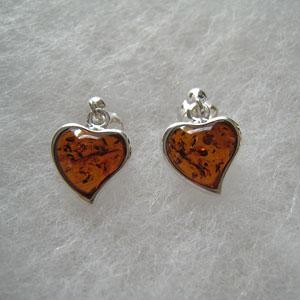 Boucles d'oreilles coeur - bijou ambre et argent
