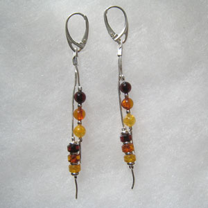 Boucles d'oreilles fil multicolore - bijou ambre et argent