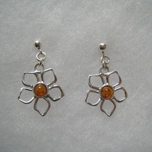 Boucles d'oreilles fleur ouverte - bijou ambre et argent