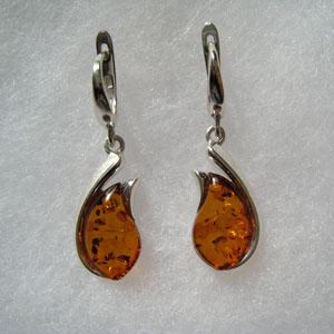 Boucles d'oreilles moderne - bijou ambre et argent