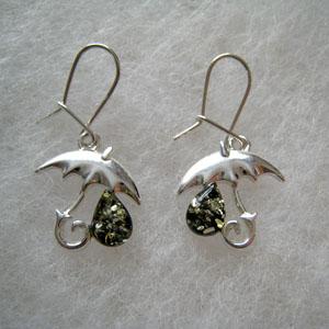 Boucles d'oreilles parapluie - bijou ambre et argent