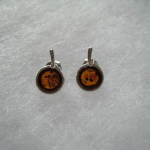 Boucles d'oreilles cerise - bijou ambre et argent