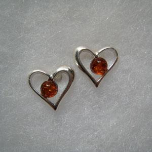Boucles d'oreilles coeur perle - bijou ambre et argent
