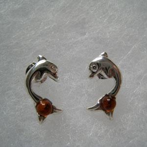 boucle d'oreilles dauphin - bijou ambre et argent