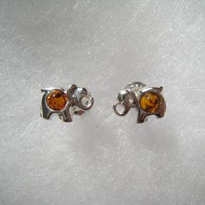 Boucles d'oreilles éléphant miniature - bijou ambre et argent