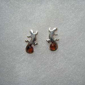 Boucle d'oreilles salamandre - bijou ambre et argent