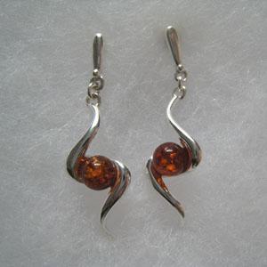 Boucles d'oreilles tourbillon  - bijou ambre et argent