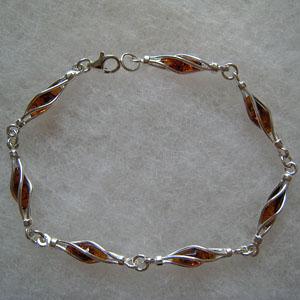 Bracelet navette fermée - bijou ambre et argent