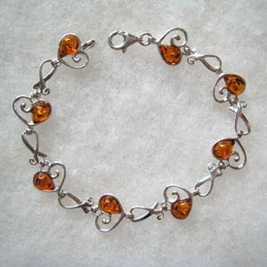 Bracelet coeur - bijou ambre et argent