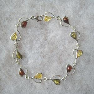 Bracelet demi coeur - bijou ambre et argent