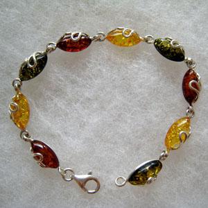 Bracelet maxi navette - bijou ambre et argent