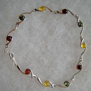 Bracelet fin petit rond - bijou ambre et argent