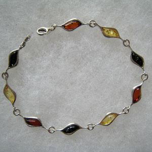 Bracelet Vague - bijou ambre et argent