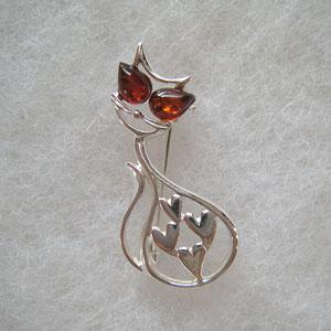 Broche chat coeur - bijou ambre et argent