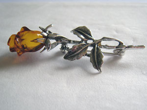 Broche rose maxi - bijou ambre et argent