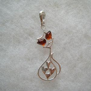 Pendentif chat coeur - bijou ambre et argent