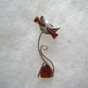pendentif chat triangle - bijou ambre et argent