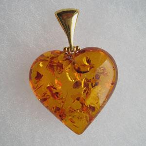 Pendentif coeur ambre maxi Or - bijou ambre et argent