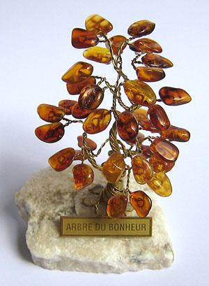 Arbre du bonheur  SX cognac 9 cm - bijou ambre et argent