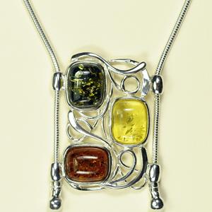 Collier Katrina - bijou ambre et argent