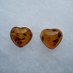 Mini coeur - bijou ambre et argent