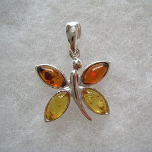 Pendentif papillon - bijou ambre et argent