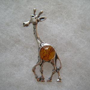 Pendentif girafe pendentifs bijou ambre et argent - Nettoyer chaine en argent ...