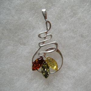 Pendentif multicolore torsadé - bijou ambre et argent