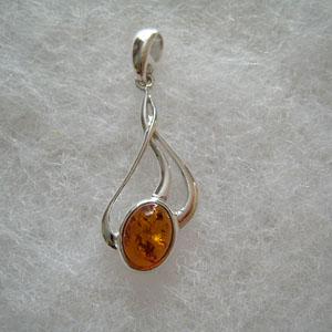 Pendentif enlacé - bijou ambre et argent