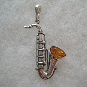 Pendentif saxophone - bijou ambre et argent