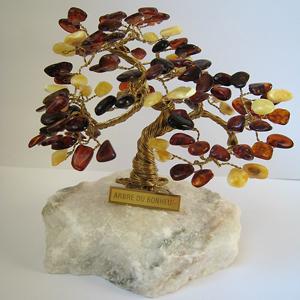 Arbre du bonheur 13 cm - bijou ambre et argent