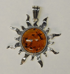 Pendentif   soleil maxi - bijou ambre et argent
