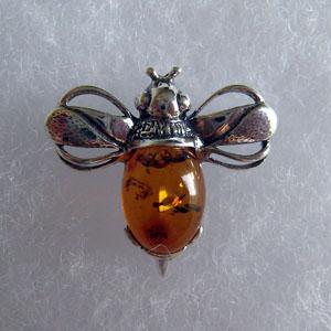 Broche abeille - bijou ambre et argent