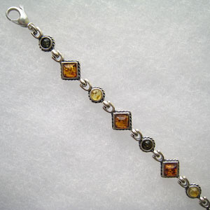 Bracelet  carré et rond - bijou ambre et argent