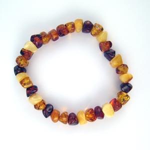 Bracelet ambre carré élastique - bijou ambre et argent
