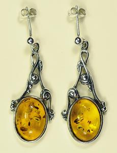 Boucles d'oreilles style ancien - bijou ambre et argent