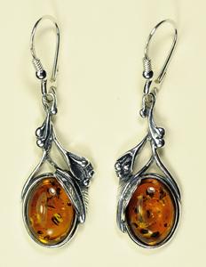 Boucles d'oreilles style ancien feuilles - bijou ambre et argent