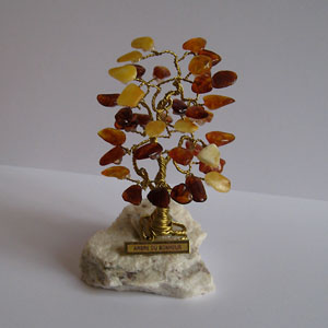 Arbre du bonheur SX  multicolore 9 cm  - bijou ambre et argent