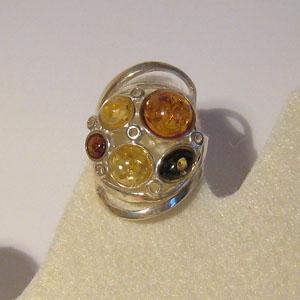 Bague mode multicolore - bijou ambre et argent