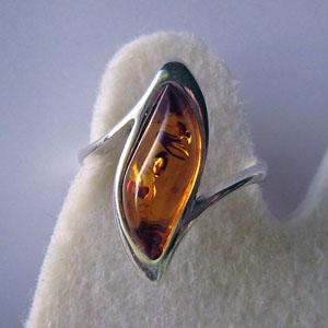 B17   Bague vague - bijou ambre et argent