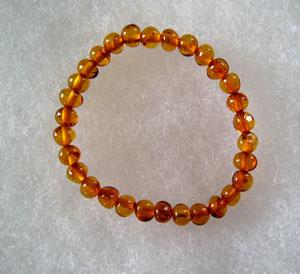 Bracelet ambre bébé cognac - bijou ambre et argent