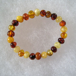 Bracelet ambre bb multicolore - bijou ambre et argent