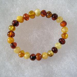 Bracelet ambre bébé multicolore - bijou ambre et argent