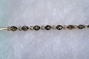 Bracelet big navette - bijou ambre et argent