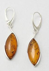 Boucles d'oreilles navette maxi - bijou ambre et argent
